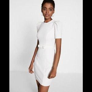 Express Puff Sleeve Belted Sheath Dress Ivory L